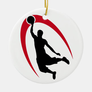 Black Red Basketball Personalized Round Ceramic Ornament