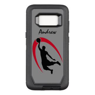 Black Red Basketball Player OtterBox Defender Samsung Galaxy S8 Case