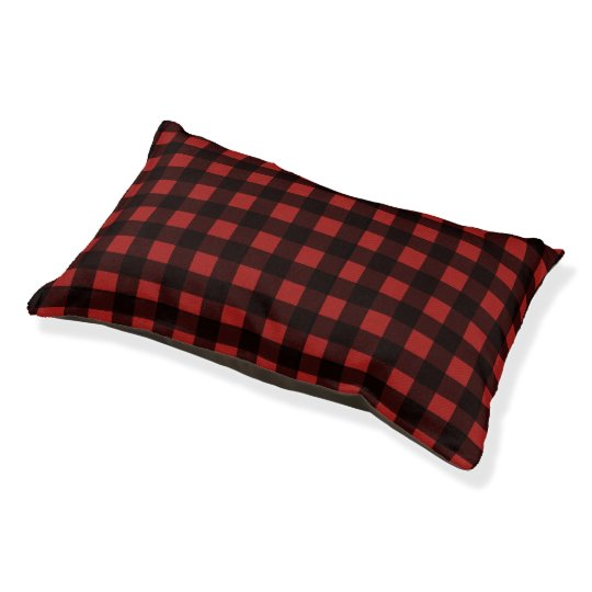 Black Red Buffalo Check Lumberjack Plaid Pattern Pet Bed