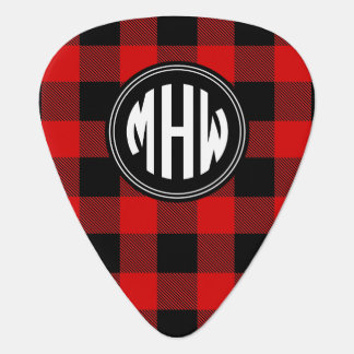 Black Red Buffalo Check Plaid 3I Circle Monogram Guitar Pick