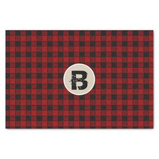 Black & Red Checker Grunge Monogram Initial Tissue Paper