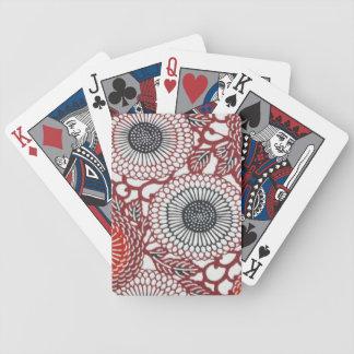Black & Red Chrysanthemums Poker Deck