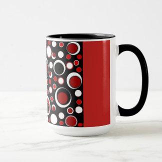 Black/Red Circle Pattern Mug
