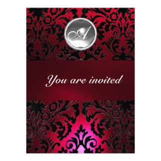BLACK & RED DAMASK GEM STONE MONOGRAM burgundy Custom Invitations