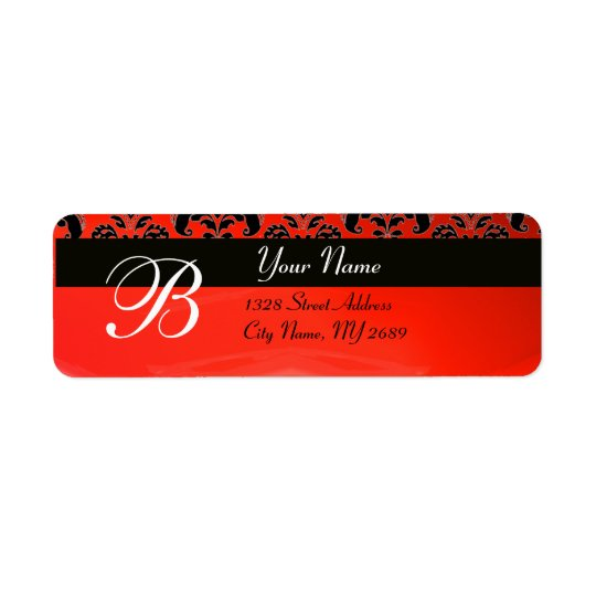 BLACK  RED DAMASK MONOGRAM