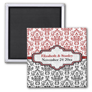 Black red damask wedding Save the Date magnet