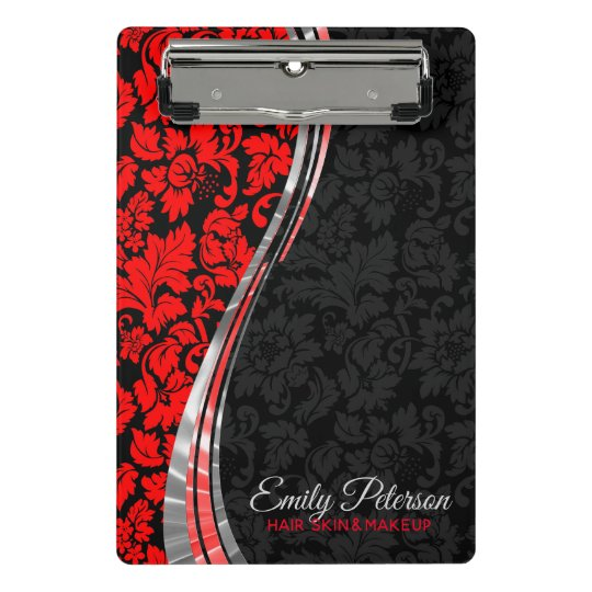 Black & Red Damasks With Silver Accents Mini Clipboard