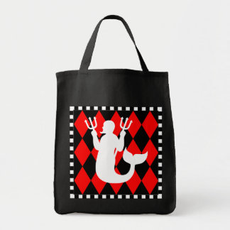 Black & Red Diamonds Merman Tote Bag