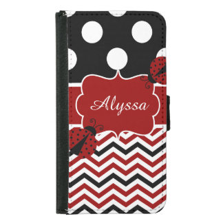 Black Red Dots Chevron Ladybug Personalized Samsung Galaxy S5 Wallet Case