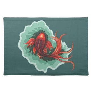 Black & Red Dragon Koi Placemat