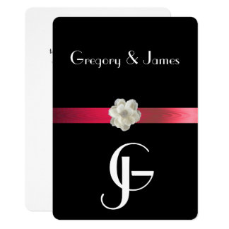 Black & Red Elegant Gay/Lesbian Wedding Invitation