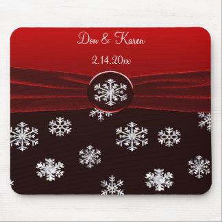 Black & Red Elegant Snowflakes Wedding Keepsake Mouse Pad