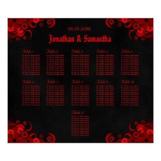 Black & Red Floral 11 Wedding Tables Seating Chart Poster