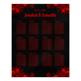 Black & Red Floral 12 Wedding Tables Seating Chart