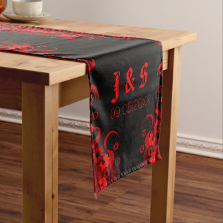 Black & Red Floral 16 x 90 Table Runners Medium Table Runner