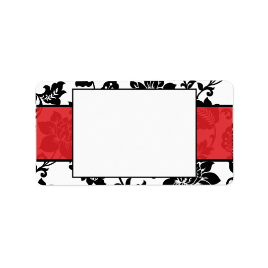 Black/Red Floral Damask Wedding Mailing Label