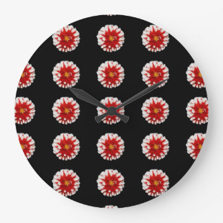 Black  red floral print clock