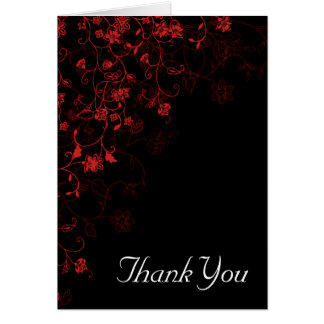 Black Red Floral Thank You Card