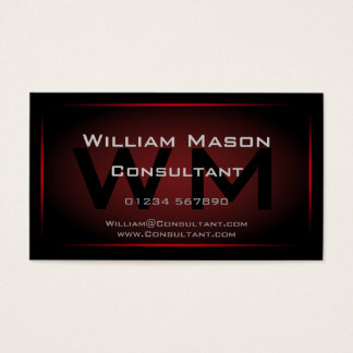 Black & Red Framed Monogram - Business Card
