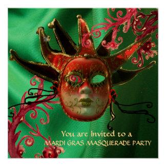 BLACK RED FUCHSIA JESTER MASK ,Masquerade Party Invitations