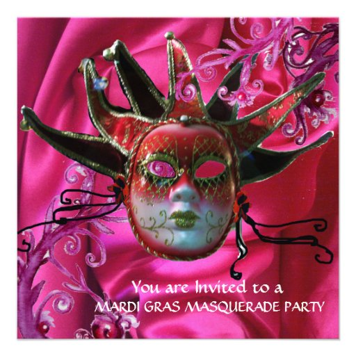 BLACK RED FUCHSIA JESTER MASK ,Masquerade Party Custom Announcements