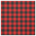 Black Red Gingham Checks Tartan Squares Pattern Fabric