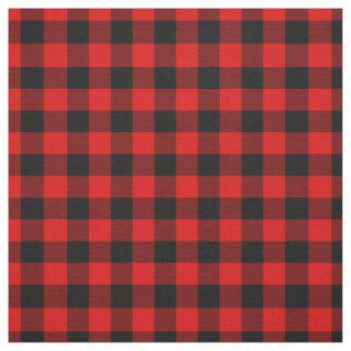 Black Red Gingham Checks Tartan Squares Pattern Fabric