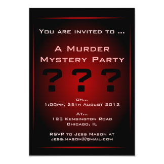 Black & Red Glow Murder Mystery Party Invitation