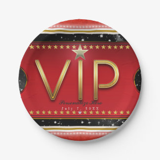 Black Red Gold & Silver Glam VIP Ticket Party Paper Plate
