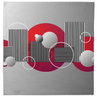 Black Red Gray Abstract Stripes and Circles Napkin