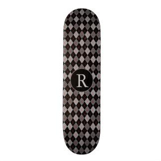 Black, Red & Gray Argyle w/Monogram Custom Skateboard