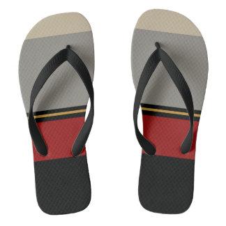 Black, red, gray, tan sandals