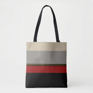 Black, red, gray, tan tote