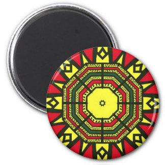Black, Red, Green and Yellow Geometric design 2 Inch Round Magnet