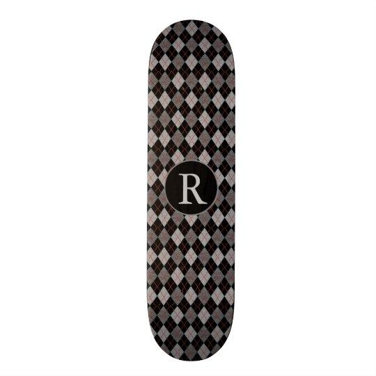 Black, Red & Grey Argyle w/Monogram Custom Skateboard