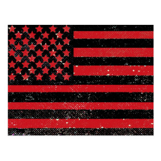 Black red grunge American flag Postcard