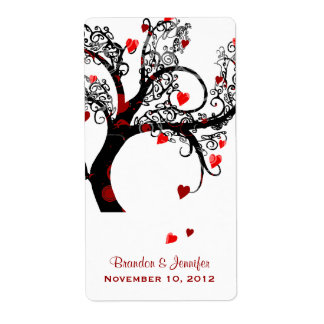 Black & Red Heart Tree Mini Wine Labels