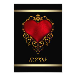 Black Red Heart Wedding Card