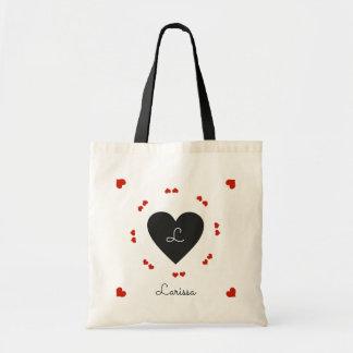 black & red hearts, romantic tote bag