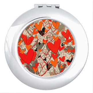 Black Red Hot Hearts Pattern Dramatic Crazy Chic Compact Mirrors