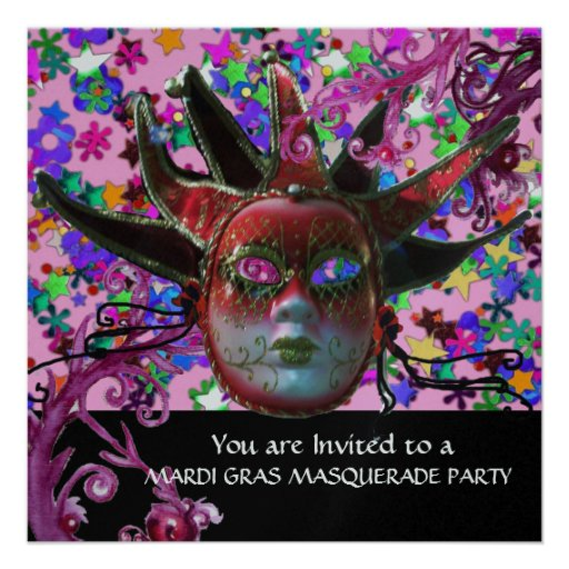 BLACK RED JESTER MASK ,Masquerade Party Silver Invites