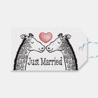 Black & Red Just Married Giraffe Red Heart Wedding Pack Of Gift Tags