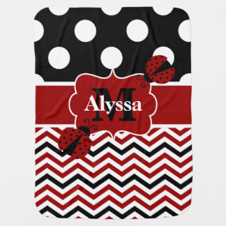 Black Red Ladybug Dots Chevron Personalized Stroller Blankets