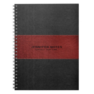 Black & Red Leather Texture Print Spiral Notebook