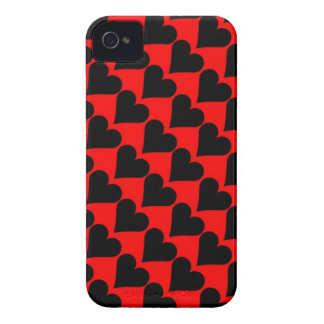 Black red love hearts case iPhone 4 Case-Mate case