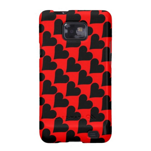 Black red love hearts case samsung galaxy s cases