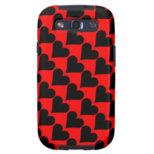 Black red love hearts case samsung galaxy SIII covers