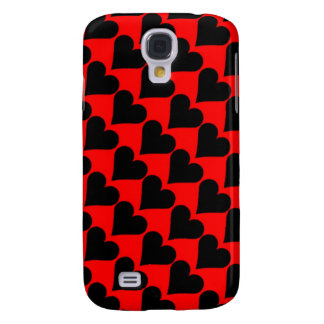 Black red love hearts case galaxy s4 cover