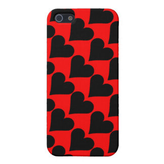Black red love hearts case cover for iPhone 5