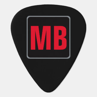 black red monogram for the guitar_player guitar pick